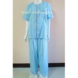 ชุดนอน(ช)กก.ขายาวแขนสั้น ผ้า Cotton เกรด เอ แบบลายสีฟ้าสด คอกลม ขนาดไซส์ XL