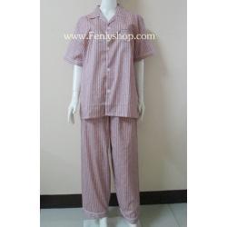 ชุดนอน(ช)กก.ขายาวแขนสั้น ผ้า Cotton เกรด เอ แบบลายสีแดง คอปก ขนาดไซส์ XL