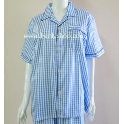 ชุดนอน(ช)กางเกงขาสั้น ผ้า Cotton เกรด เอ แบบลายสก๊อตสีฟ้า คอปก ฟรีไซส์ (F)
