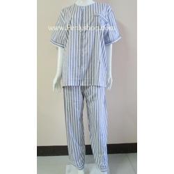 ชุดนอน(ช)กก.ขายาวแขนสั้น ผ้า Cotton เกรด เอ แบบลายสีเทา+ขาว คอกลม ขนาดไซส์ XL