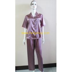 ชุดนอน(ญ)ผ้าซาตินแขนสั้นขายาวฟรีไซส์ แบบสีพื้นโทนสีเปลือกมังคุด ตกแต่งด้วยผ้าลูกไม้