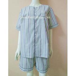 ชุดนอน(ช)กางเกงขาสั้น ผ้า Cotton เกรด เอ แบบลายริ้ว-สีเขียว คอกลม ฟรีไซส์ (F)
