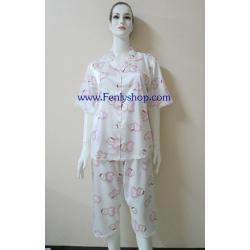 ชุดนอนไซส์ใหญ่(ญ)กางเกงขาสามส่วน ผ้าซาตินเกรด เอ ลายการ์ตูน สวยๆ น่ารัก เสื้อรอบอก 46 นิ้ว