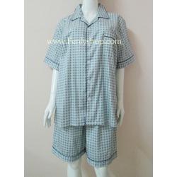 ชุดนอน(ช)กางเกงขาสั้น ผ้า Cotton เกรด เอ แบบลายโทนสีเขียวขี้ม้า คอปก ฟรีไซส์ (F)