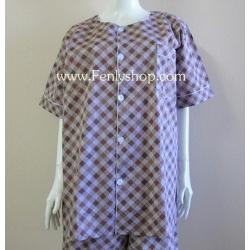 ชุดนอน(ช)กก.ขายาวแขนสั้น ผ้า Cotton เกรด เอ แบบลายสีน้ำตาล คอกลม ขนาดไซส์ XL