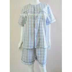 ชุดนอน(ช)กางเกงขาสั้น ผ้า Cotton เกรด เอ แบบลายสก๊อต คอกลม ฟรีไซส์ (F)