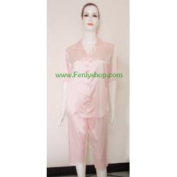 ชุดนอน(ญ)ขาสามส่วน ผ้าซาตินเกรด เอ ไซส์ใหญ่ สีส้มสวยๆ น่ารัก เสื้อรอบอก 46 นิ้ว