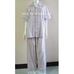 ชุดนอน(ช)กก.ขายาวแขนสั้น ผ้า Cotton เกรด เอ แบบลายทาง คอปก ขนาดไซส์ XL