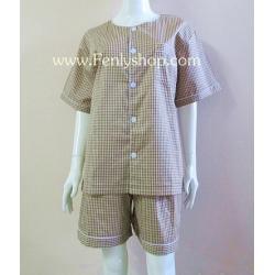 ชุดนอน(ช)กางเกงขาสั้น ผ้า Cotton เกรด เอ แบบลายเล็ก สีน้ำตาลเข้ม คอกลม ฟรีไซส์ (F)