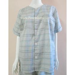 ชุดนอน(ช)กก.ขายาวแขนสั้น ผ้า Cotton เกรด เอ แบบลายสีเทา คอกลม ขนาดไซส์ XL