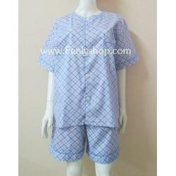 ชุดนอน(ช)กางเกงขาสั้น ผ้า Cotton เกรด เอ แบบลายสีฟ้า คอกลม ฟรีไซส์ (F)