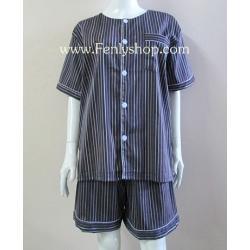 ชุดนอน(ช)กางเกงขาสั้น ผ้า Cotton เกรด เอ แบบลายริ้ว-สีน้ำเงินเข้ม คอกลม ฟรีไซส์ (F)