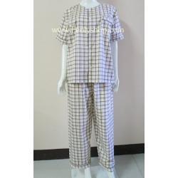 ชุดนอน(ช)กก.ขายาวแขนสั้น ผ้า Cotton เกรด เอ แบบลายสก็อต สีเหลือง คอกลม ขนาดไซส์ L