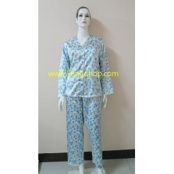 ชุดนอนไซส์ใหญ่(ญ)กางเกงขายาวแขนยาวผ้าซาติน เกรด เอ สีฟ้าแบบลาย น่ารัก เสื้อรอบอก 46 นิ้ว