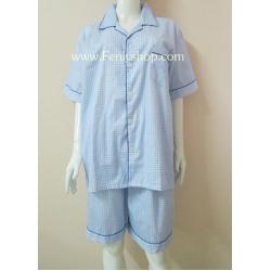 ชุดนอน(ช)กางเกงขาสั้น ผ้า Cotton เกรด เอ แบบลายสีฟ้า คอปก ฟรีไซส์ (F)