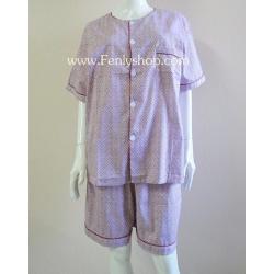 ชุดนอน(ช)กางเกงขาสั้น ผ้า Cotton เกรด เอ แบบลาย-สีแดง คอกลม ฟรีไซส์ (F)