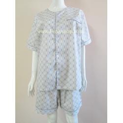 ชุดนอน(ช)กางเกงขาสั้น ผ้า Cotton เกรด เอ แบบลาย-สีเทา วินเทจ คอกลม ฟรีไซส์ (F)
