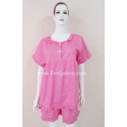 ชุดนอน(ญ)ขาสั้น ผ้าCotton สีชมพูแบบลายจุดน่ารัก แบบสวม ฟรีไซส์(มี 2 สี ชมพูและสีน้ำเงิน)