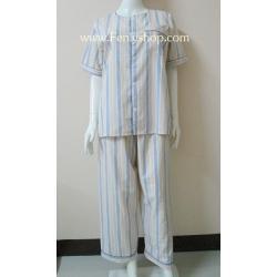 ชุดนอน(ช)กก.ขายาวแขนสั้น ผ้า Cotton เกรด เอ แบบลายโทนสีส้ม คอกลม ขนาดไซส์ XL
