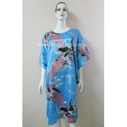 ชุดนอนแซกปีกค้างคาว ผ้าซาติน เกรด A โทนสีฟ้าน้ำเงิน ลายนกยูง สวยงาม