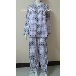ชุดนอน(ช)กก.ขายาวแขนยาว ผ้า Cotton เกรด เอ แบบลายสก๊อตสีม่วง คอปก ขนาดไซส์ XL