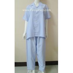 ชุดนอน(ช)กก.ขายาวแขนสั้น ผ้า Cotton เกรด เอ สีฟ้า คอปก ขนาดไซส์ L