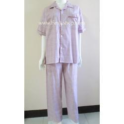 ชุดนอน(ช)กก.ขายาวแขนสั้น ผ้า Cotton เกรด เอ แบบลายสีแดง คอปก ขนาดไซส์ L