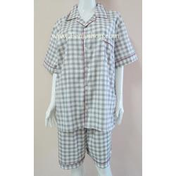 ชุดนอน(ช)กางเกงขาสั้น ผ้า Cotton เกรด เอ แบบลายสก๊อตสีเหลือง+เขียว คอปก ฟรีไซส์ (F)