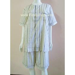 ชุดนอน(ช)กางเกงขาสั้น ผ้า Cotton เกรด เอ แบบลายริ้ว สีน้ำตาลอ่อน คอกลม ฟรีไซส์ (F)