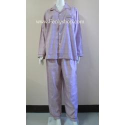 ชุดนอน(ช)กก.ขายาวแขนยาว ผ้า Cotton เกรด เอ แบบลายสีแดง คอปก ขนาดไซส์ XL