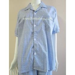 ชุดนอน(ช)กางเกงขาสั้น ผ้า Cotton เกรด เอ แบบลายสีน้ำเงิน คอปก ฟรีไซส์ (F)