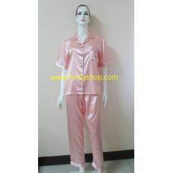ชุดนอน(ญ)ผ้าซาตินแขนสั้นขายาวฟรีไซส์ สีโอรส คอปก