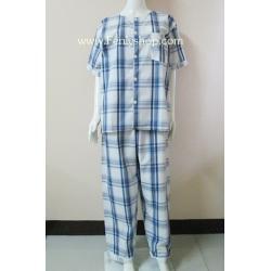 ชุดนอน(ช)กก.ขายาวแขนสั้น ผ้า Cotton เกรด เอ แบบลายสก็อตใหญ่สีครีม+น้ำเงิน คอกลม ขนาดไซส์ XL