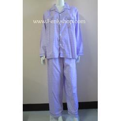 ชุดนอน(ช)กก.ขายาวแขนยาว ผ้า Cotton เกรด เอ แบบลายสีม่วง คอปก ขนาดไซส์ XL