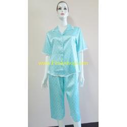 ชุดนอนกางเกงขาสามส่วนผ้าซาติน ขนาดฟรีไซส์ แบบลายสีฟ้าลายจุด+โบว์ รอบอกเสื้อ 40 นิ้ว สำเนา