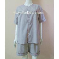 ชุดนอน(ช)กางเกงขาสั้น ผ้า Cotton เกรด เอ แบบลายริ้ว-สีน้ำตาล คอกลม ฟรีไซส์ (F)