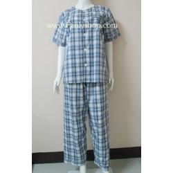 ชุดนอน(ช)กก.ขายาวแขนสั้น ผ้า Cotton เกรด เอ ลายสก็อตสีน้ำเงิน คอกลม ขนาดไซส์ L