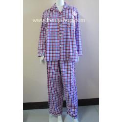 ชุดนอน(ช)กก.ขายาวแขนยาว ผ้า Cotton เกรด เอ แบบลายสก๊อตสีแดง คอปก ขนาดไซส์ XL