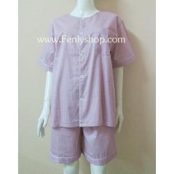 ชุดนอน(ช)กางเกงขาสั้น ผ้า Cotton เกรด เอ แบบลายสีชมพู คอกลม ฟรีไซส์ (F)