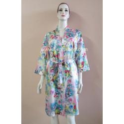 เสื้อคลุม+ชุดนอน(2 ชิ้น) ผ้าซาติน เกรด A แบบลายดอก สีโทนฟ้า+ชมพู สีสวย สินค้าดีมีคุณภาพ