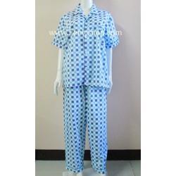 ชุดนอน(ช)กก.ขายาวแขนสั้น ผ้า Cotton เกรด เอ แบบลายสก๊อตใหญ่ โทนสีฟ้า คอปก ขนาดไซส์ XL
