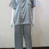 ชุดนอน(ช)กางเกงขายาวแขนสั้น ผ้าซาติน เกรด เอ สีเท่า คอปก ขนาดไซส์ XL