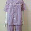 ชุดนอน(ช)กางเกงขาสั้น ผ้า Cotton เกรด เอ แบบลายริ้ว-สีแดง คอกลม ฟรีไซส์ (F)