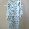 ชุดนอน(ญ)ผ้าซาตินกางเกงขายาวแขนยาว แบบลายดอกโทนสีฟ้า สีสวย ตัวเสื้อรอบอก 40 นิ้ว