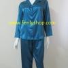 ชุดนอน(ญ)ผ้าซาตินกางเกงขายาวแขนยาว สีเขียวเข้ม สีสวย เสื้อรอบอก 40 นิ้ว