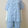 ชุดนอน(ช)กางเกงขาสั้น ผ้า Cotton เกรด เอ แบบลายสีฟ้า+น้ำเงิน คอกลม ขนาดไซส์ XXL