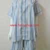 ชุดนอน(ช)กางเกงขาสั้น ผ้า Cotton เกรด เอ แบบลายสีฟ้า+เทา+เหลือง คอกลม ขนาดไซส์ XXL