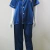 ชุดนอน(ช)กางเกงขายาวแขนสั้น ผ้าซาติน เกรด เอ คอปก สีน้ำเงินเข้มขนาดไซส์ XL