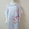 ชุดนอนแซก ผ้าซาติน เกรด A ปีกค้างคาว แบบลายดอกไม้ใหญ่สีชมพู โทนสีฟ้า สีสวย
