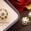 แหวนพลอยนพเก้า หุ้มทองคำแท้ (ทรงโบราณ)